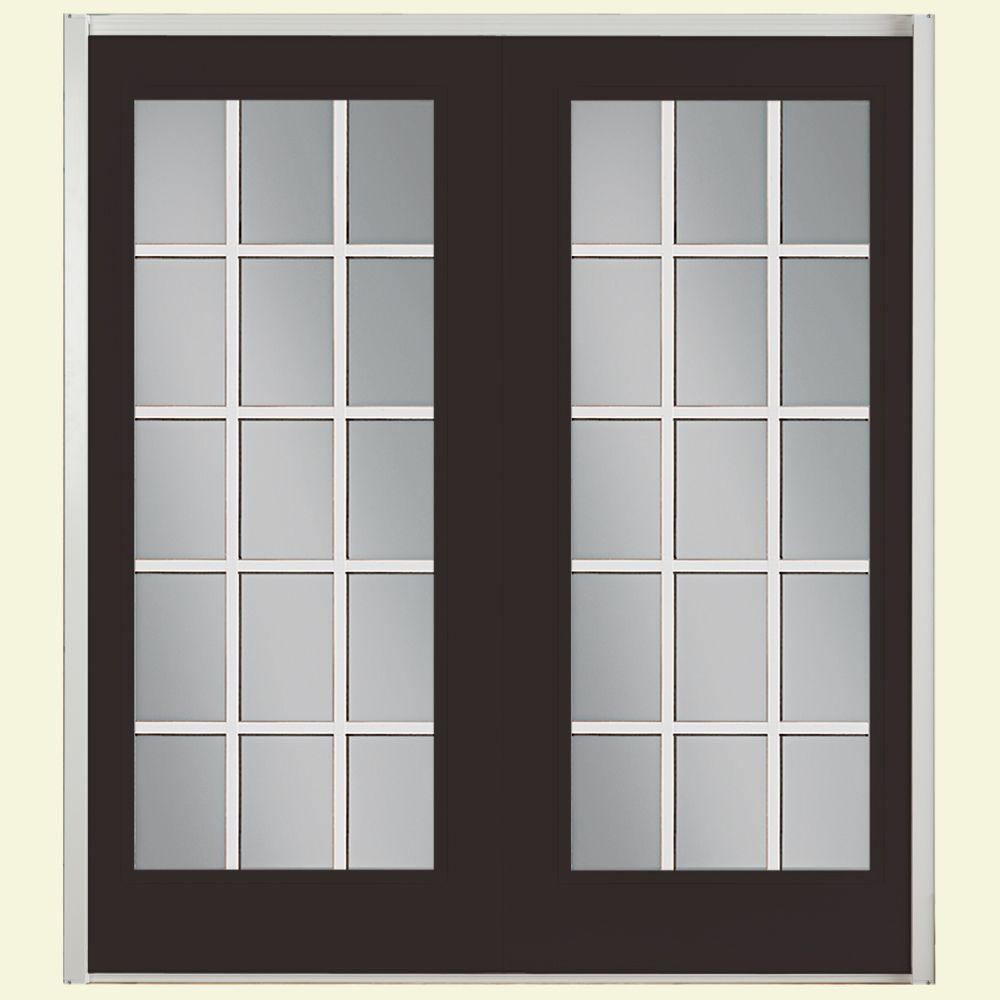 Masonite 72 in. x 80 in. Willow Wood Prehung Left-Hand Inswing 15 Lite Fiberglass Patio Door with No Brickmold in Vinyl Frame
