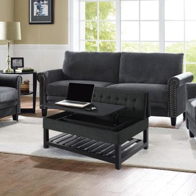 Joliet Charcoal Solid Wood Tufted Coffee Table Work Table Convertible with Storage
