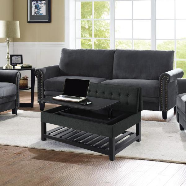 Lifestyle Solutions Joliet Charcoal Solid Wood Tufted Coffee Table