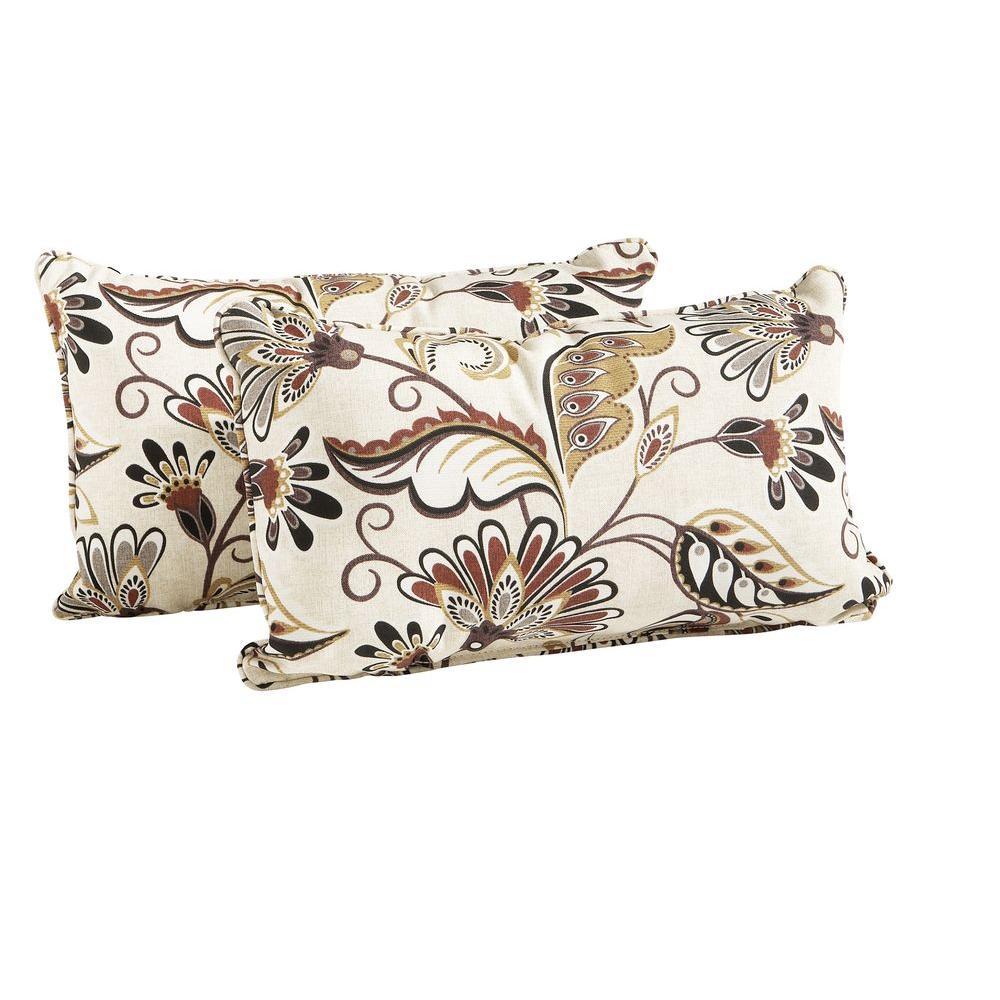 Hampton Bay Woodbury Outdoor Lumbar Pillow (2-Pack)