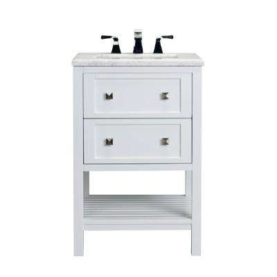 Natalie 24 in. W x 22 in. D x 36 in. H Vanity in White with Carrera Marble Top in White with White Basin