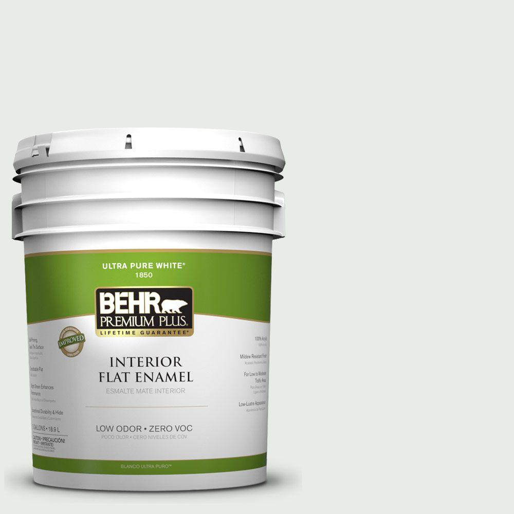 BEHR Premium Plus 5-gal. #750E-1 Steam White Zero VOC Flat Enamel Interior Paint-DISCONTINUED