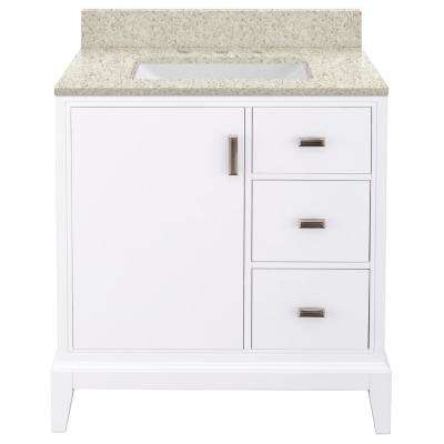 Shaelyn 31 in. W x 22 in. D Bath Vanity in White RH with Engineered Quartz Vanity Top in Sedona with White Sink