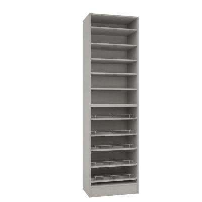 15 in. D x 24 in. W x 84 in. H Natural Linen Melamine with 11-Shelves and Slide Outs Closet System Kit