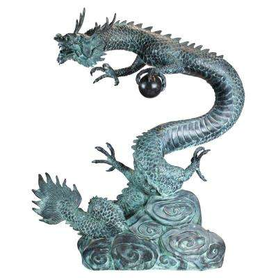 35 in. H Asian Dragon with Oriental Power Orb Bronze Large Garden Statue