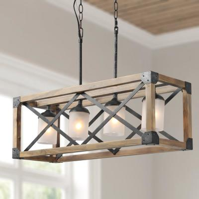 Mari 27.5 in. 4-Light Hammered-Black Rustic Farmhouse Walnut Wood Cage Island Chandelier with Frosted Cylinder Shade