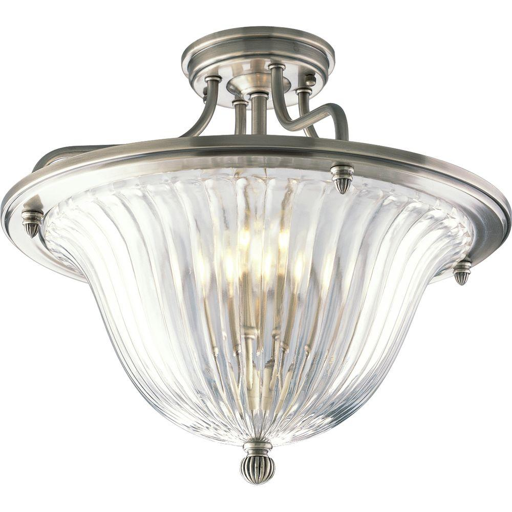 Progress Lighting Roxbury Collection 3-Light Classic Silver Semi-Flush Mount Light