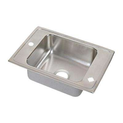 Lustertone Drop-In Stainless Steel 25 in. 1-Hole Single Bowl Classroom Sink