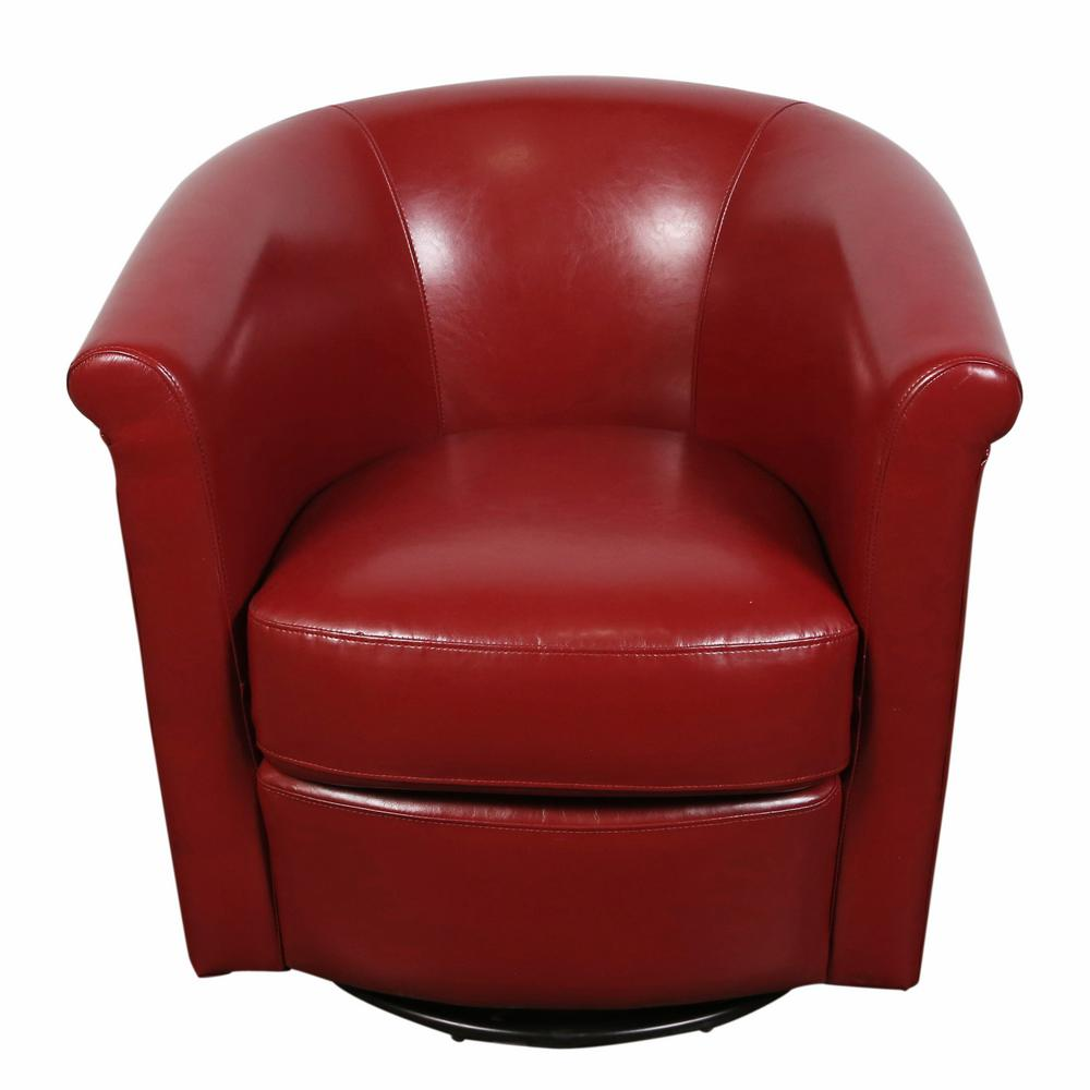 Marvel Contemporary Leather Look Swivel Red Accent Chair