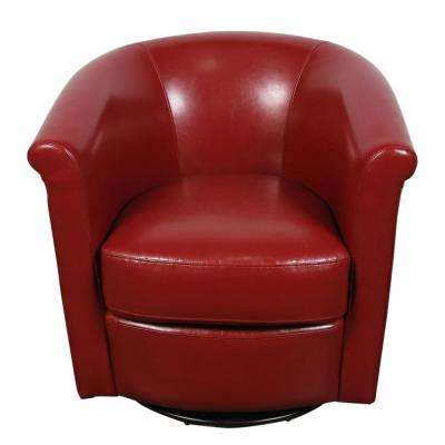 Marvel Contemporary Leather-Look Swivel Red Accent Chair