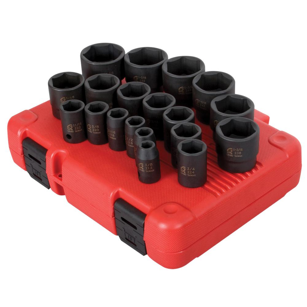 1/2 in. Drive SAE Impact Socket Set (19-Piece)