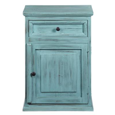 Liza 1-Drawer Antique Turquoise Nightstand