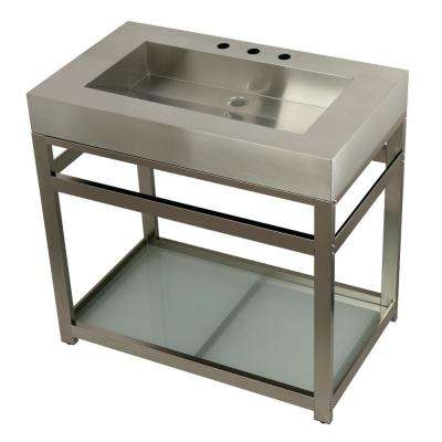 37 in. W Bath Vanity in Brushed Nickel with Stainless Steel Vanity Top in Silver with Silver Basin