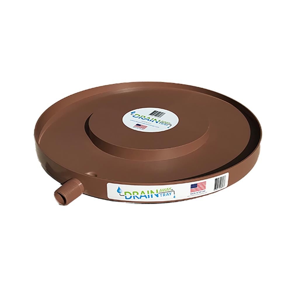 15.5 in. Dia. Brown Plastic Plant Drain Tray