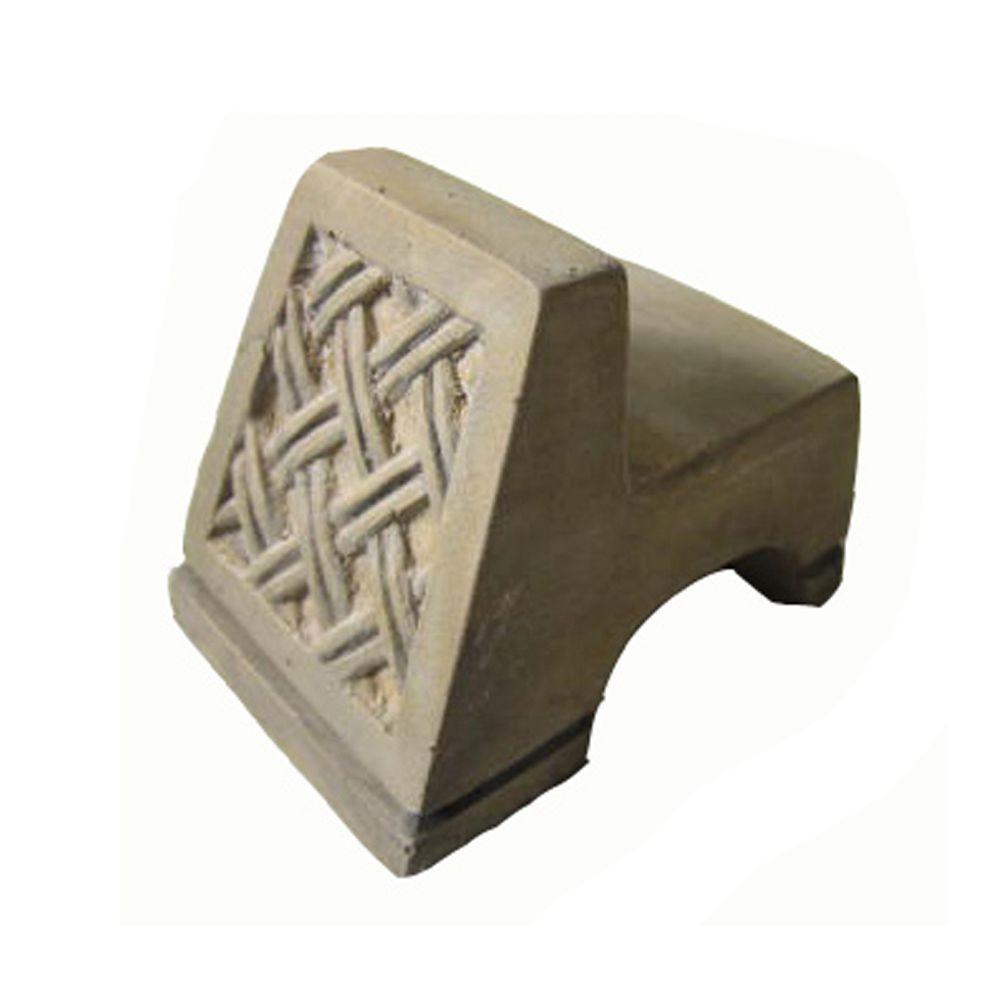 3.5 in. x 2.5 in. Lattice Pot Feet in French Limestone Finish (Set of 3)