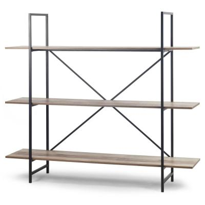 August 56 in. Light Brown Weathered Oak 3- -Shelf Modern Etagere Bookcase with Metal Frame