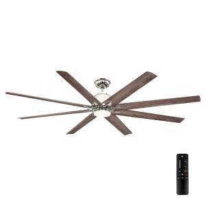 Kensgrove 72 in. LED Indoor/Outdoor Polished Nickel Ceiling Fan with Remote Control