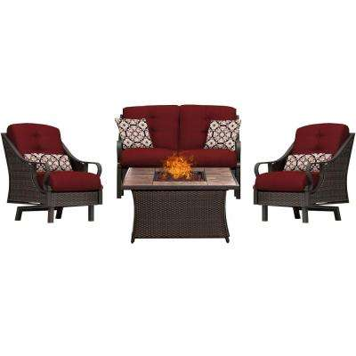 Ventura 4-Piece All-Weather Wicker Patio Conversation Set with Tile-Top Fire Pit with Crimson Red Cushions
