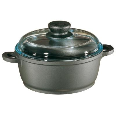 Tradition 7.5 qt. Round Cast Aluminum Nonstick Dutch Oven in Gray with Glass Lid