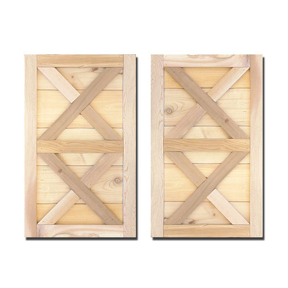 Design Craft MIllworks 12 in. x 31 in. Natural Cedar Board-N-Batten Southerland Shutters Pair
