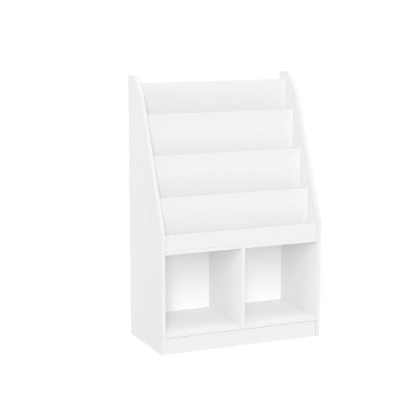 White Kids Bookrack with 2-Cubbies