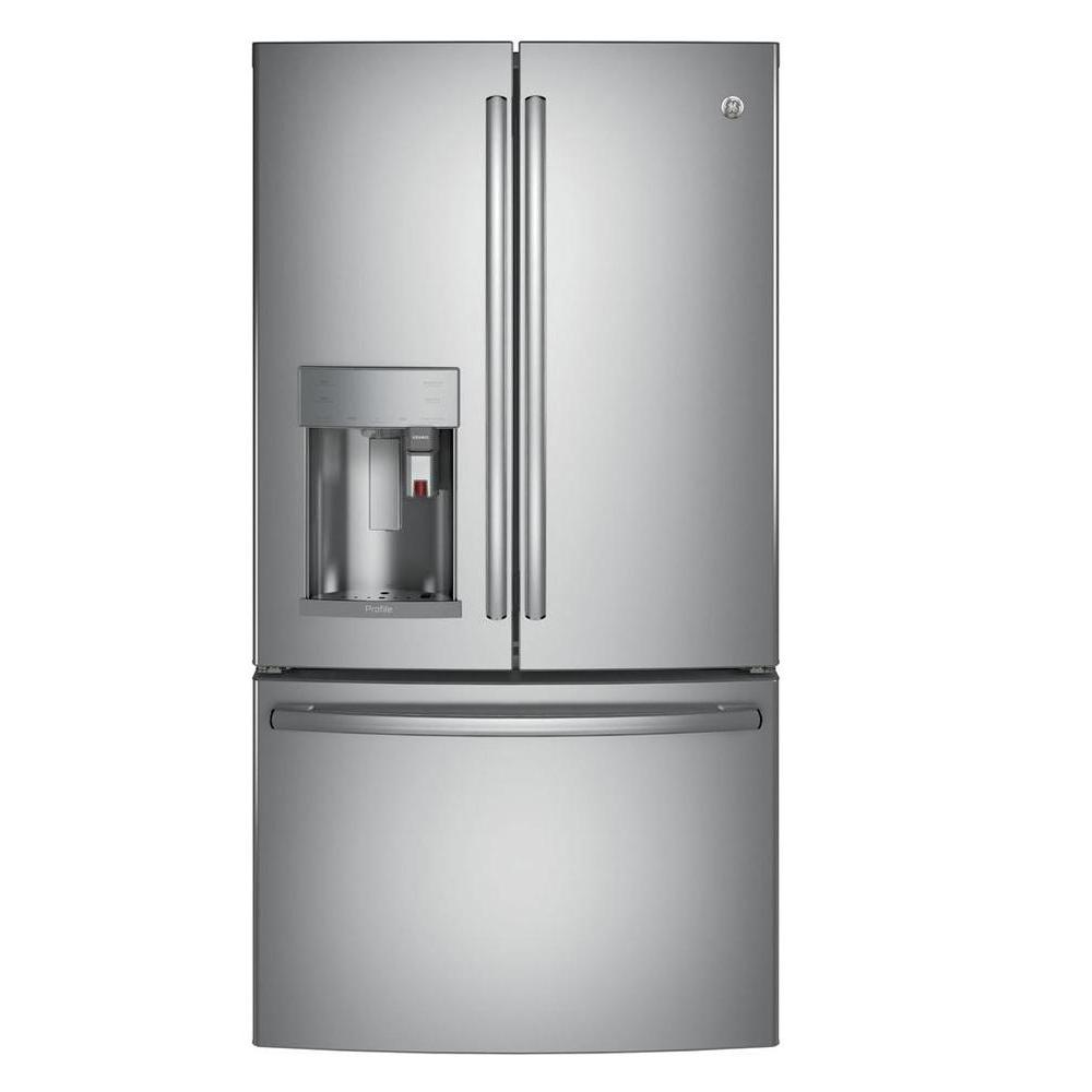 GE Profile 35.75 in. 22.1 cu. ft. Smart French Door Refrigerator with Keurig K-Cup and WiFi in Stainless Steel, Counter Depth