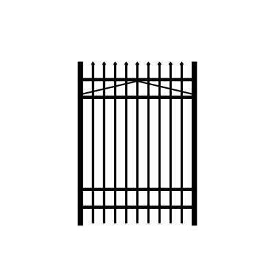 Washington 4 ft. W x 6 ft. H Black Aluminum 4-Rail Fence Gate