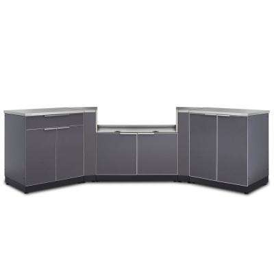 Slate Gray 7-Piece 154 in. W x 36.5 in. H x 24 in. D Outdoor Kitchen Cabinet Set