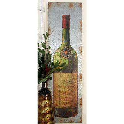 13 in. x 47 in. Vintage Wine Bottle Painting Decor (Set of 2)