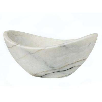 Small Canoe Vessel Sink in Guanxi White Marble