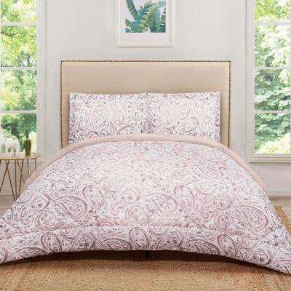 Watercolor Paisley Blush Pink King Comforter Set
