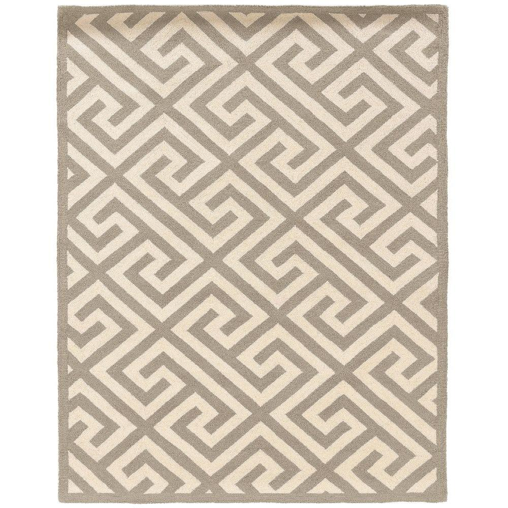 Linon Home Decor Silhouette Key Grey and White 5 ft. x 7 ft. Indoor Area Rug