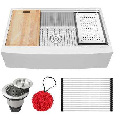 Bryce Zero Radius Farmhouse Apron Front 16-Gauge Stainless Steel 36 in. Single Basin Kitchen Sink with Accessory Kit