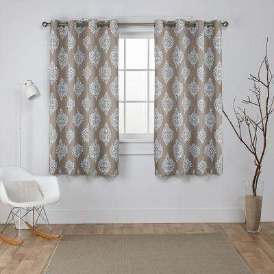 Medallion 52 in. W x 63 in. L Woven Blackout Grommet Top Curtain Panel in Taupe (2 Panels)