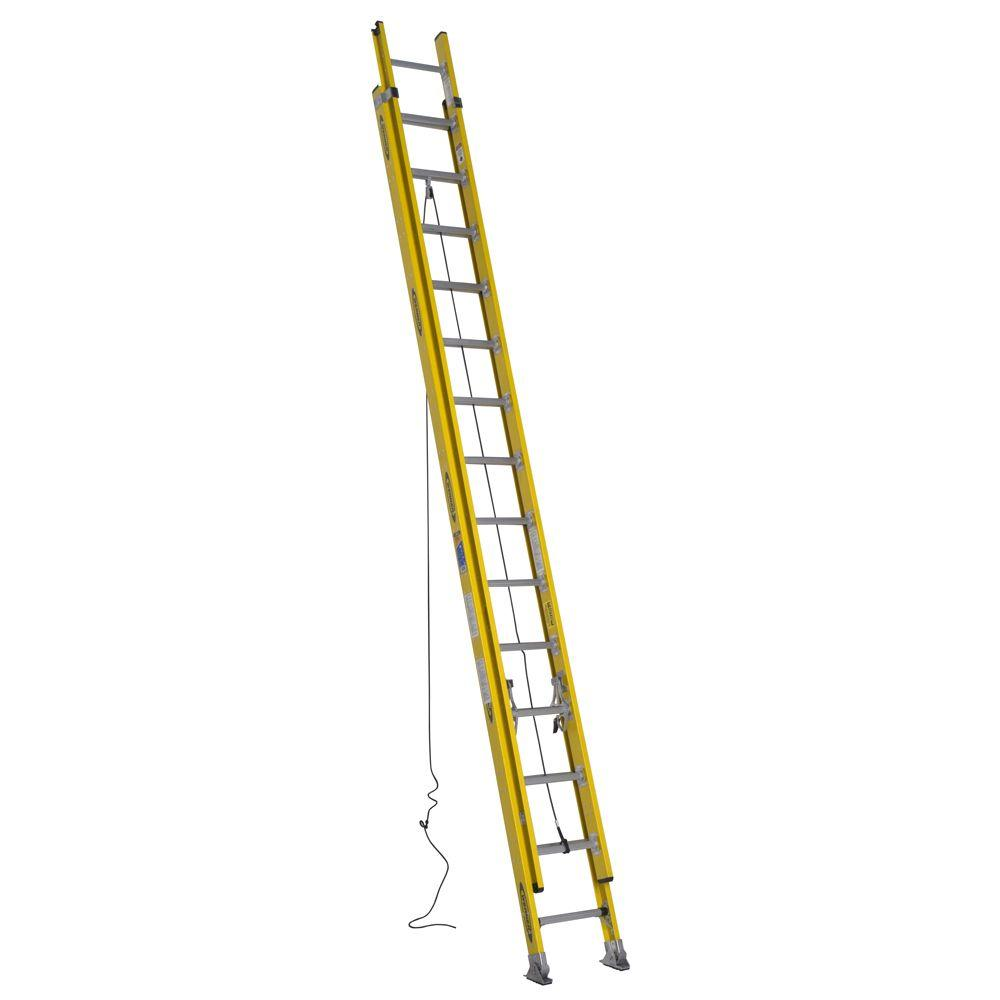 Werner 28 ft. Fiberglass Round Rung Extension Ladder with 375 lb. Load Capacity Type IAA Duty Rating