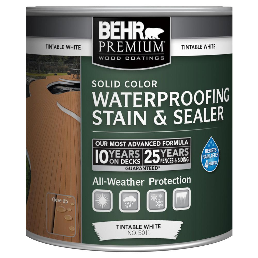 Exterior White Stain For Wood: BEHR Premium 8 Oz. White Base Solid Color Waterproofing