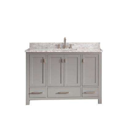 Modero 49 in. W x 22 in. D x 35 in. H Vanity in Chilled Gray with Marble Vanity Top in Carrera White and White Basin