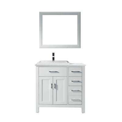 Kelly 36 in. Vanity in White with Solid Surface Marble Vanity Top in Carrara White and Mirror