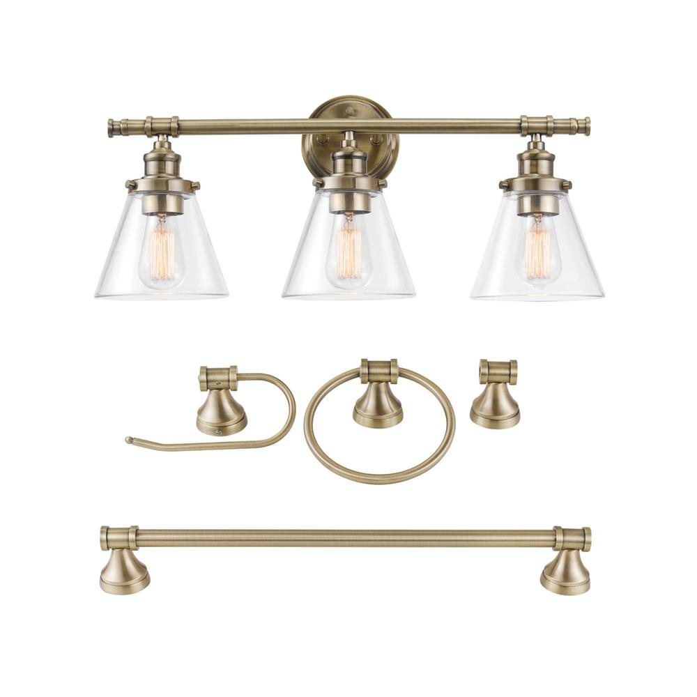 Globe Electric Parker 5-Piece Antique Brass All-In-One Bathroom Vanity Set