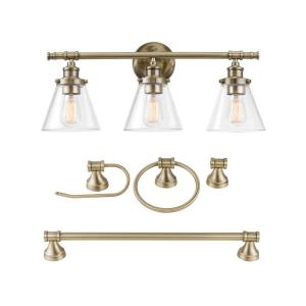 Parker 3-Light Antique Brass 5-Piece All-In-One Bath Vanity Light Set