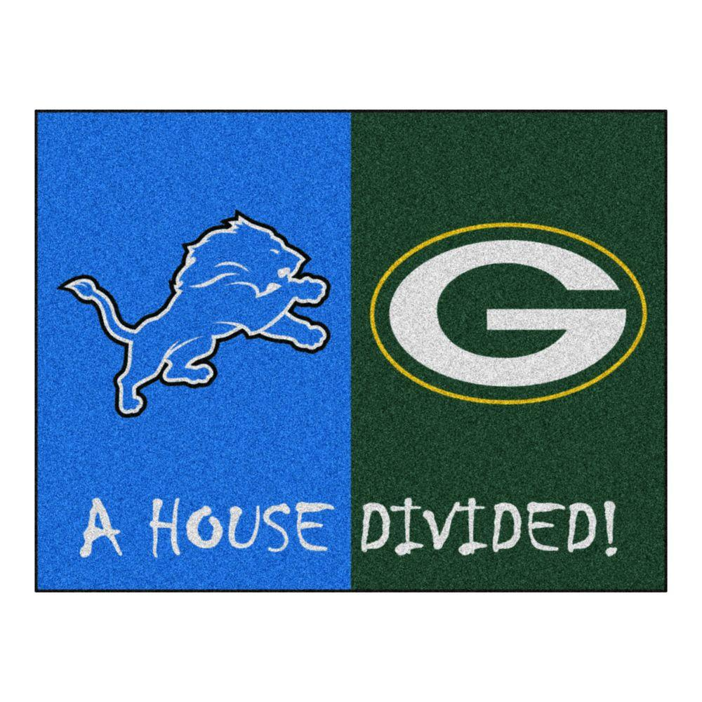 Fanmats Nfl Lions Packers Blue House Divided 2 Ft 10 In
