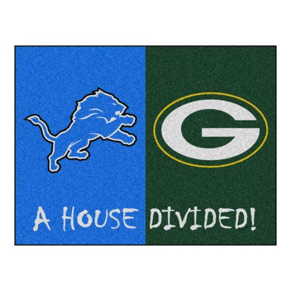 NFL Lions/Packers Blue House Divided 3 ft. x 4 ft. Area Rug