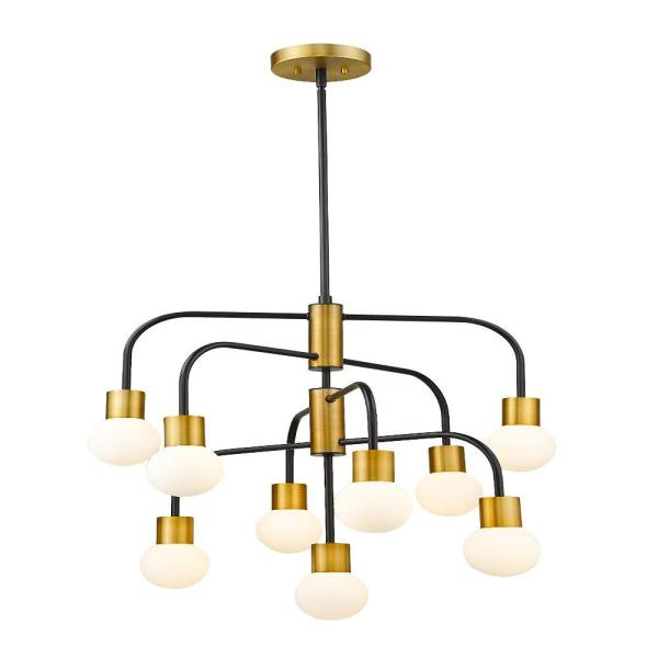 9-Light Matte Black and Foundry Brass Chandelier with Opal Glass Shade