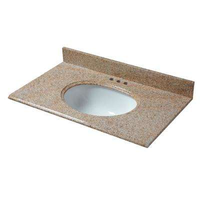 37 in. W x 22 in. D Granite Vanity Top in Beige with White Basin