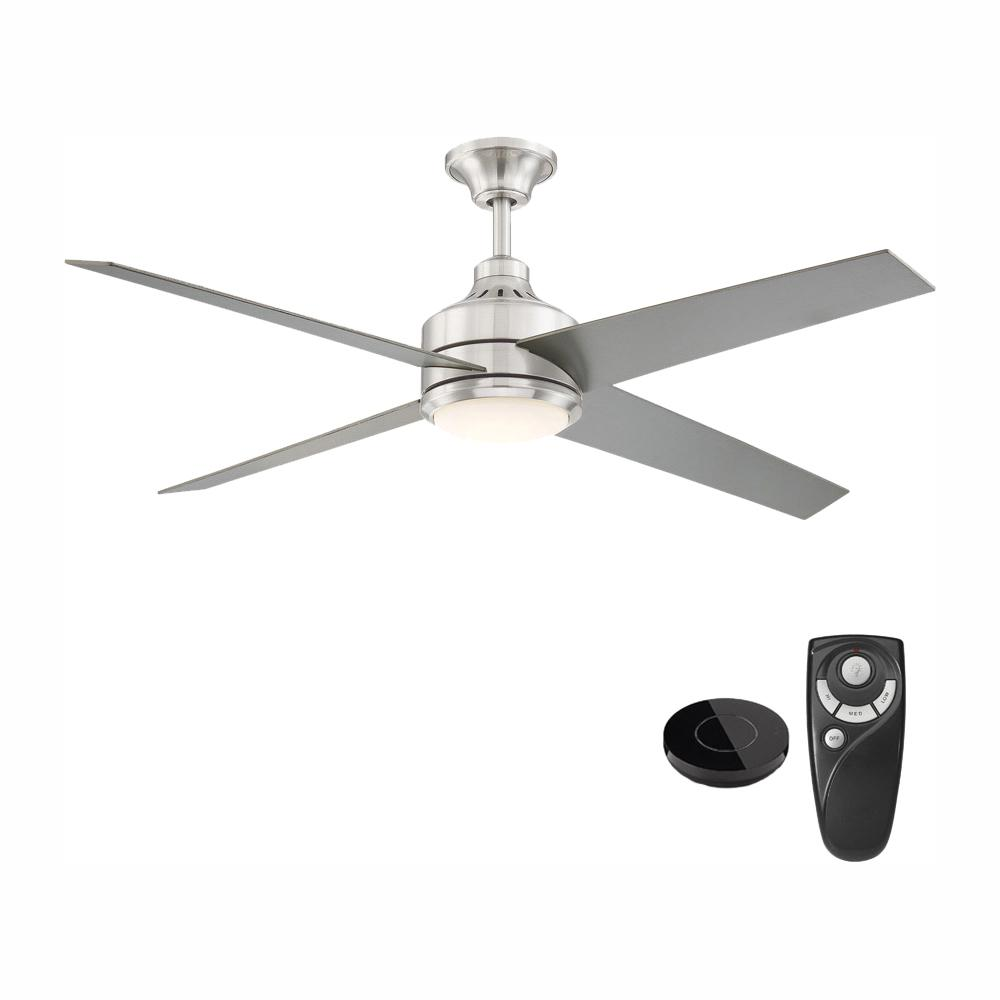 Home Decorators Collection Mercer 56 in. Integrated LED Brushed Nickel Ceiling Fan with Light Kit works with Google Assistant and Alexa