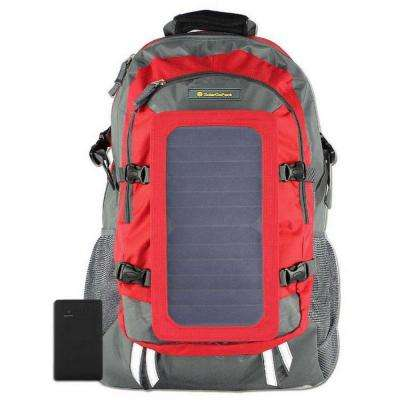 Solar Backpack, 10k mAh battery, 7-Watt Solar Panel in Red