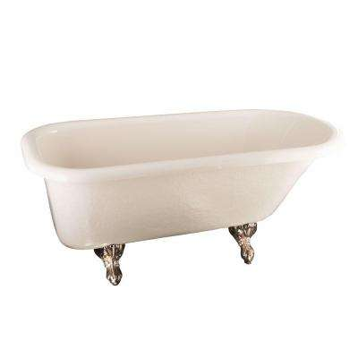 5 ft. Acrylic Ball and Claw Feet Roll Top Tub in Bisque