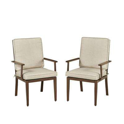 Key West Chocolate Brown Stationary Extruded Aluminum Outdoor Dining Chair with Beige Cushions (Pack of 2)