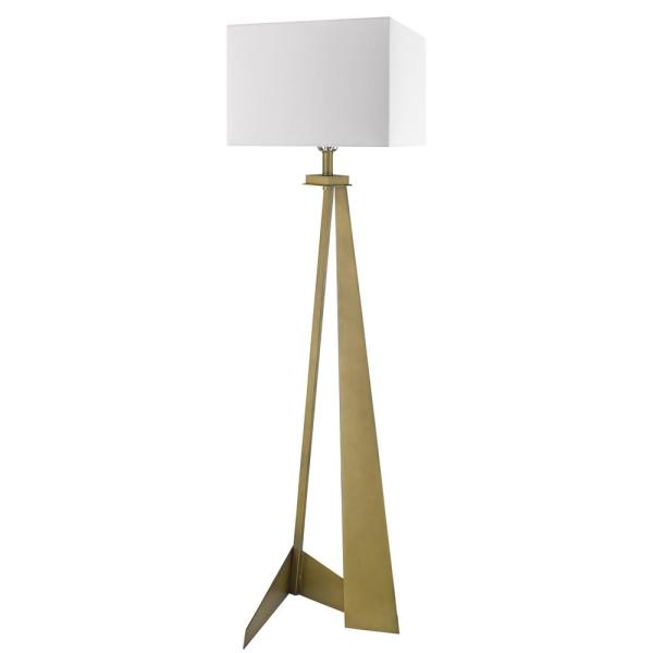 Stratos 59.75 in. 1-Light Aged Brass Floor Lamp