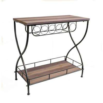 Rustic Barn Wood Industrial Metal and Wood Wine Rack Sofa Table